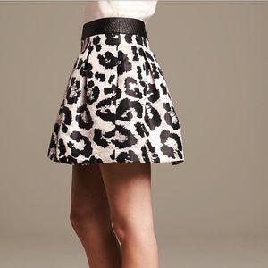 BR Metallic Leopard Leopard Box Pleat Mini Skirt